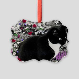 Freckles Tux Cat Flowers II Picture Ornament