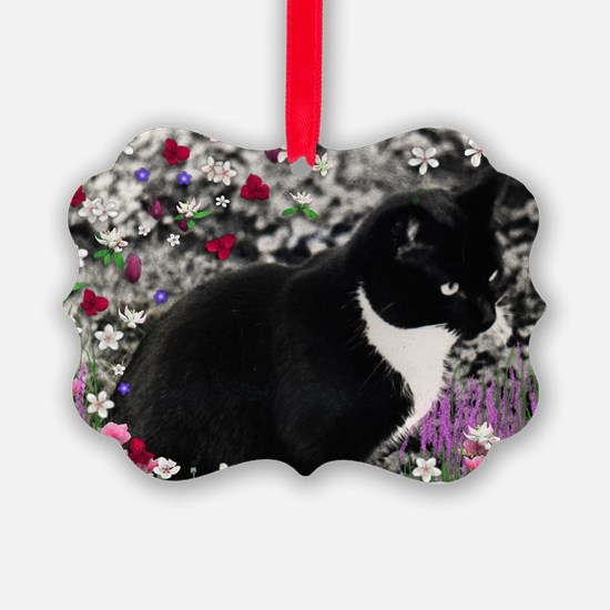 Freckles Tux Cat Flowers II Ornament