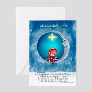 sister christmas greeting card with little elf