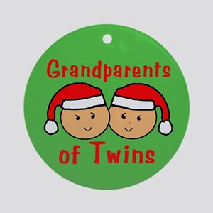 Grandparents Twins Hats Christmas Ornament (Round)