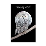Snowy Owl and Moon Mini Poster Print