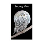 Snowy Owl and Moon Sticker (Rectangle)