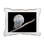 Snowy Owl and Moon Rectangular Canvas Pillow
