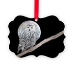 Snowy Owl and Moon Picture Ornament