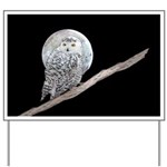 Snowy Owl and Moon Yard Sign