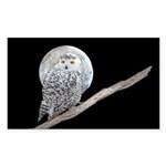 Snowy Owl and Moon Sticker (Rectangle 50 pk)