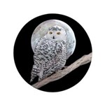 Snowy Owl and Moon Button