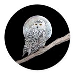 Snowy Owl and Moon Round Car Magnet
