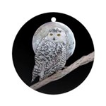 Snowy Owl and Moon Round Ornament