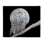 Snowy Owl and Moon Throw Blanket