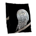 Snowy Owl and Moon Burlap Throw Pillow