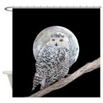 Snowy Owl and Moon Shower Curtain