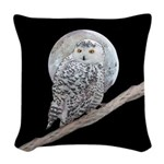 Snowy Owl and Moon Woven Throw Pillow