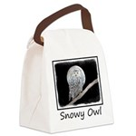 Snowy Owl and Moon Canvas Lunch Bag