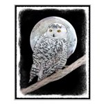 Snowy Owl and Moon Small Poster