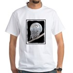 Snowy Owl and Moon White T-Shirt