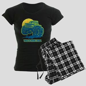 How I Roll Monster Truck Women's Dark Pajamas