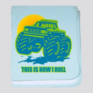 How I Roll Monster Truck baby blanket