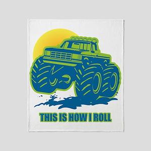 How I Roll Monster Truck Throw Blanket