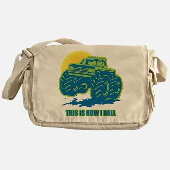 How I Roll Monster Truck Messenger Bag