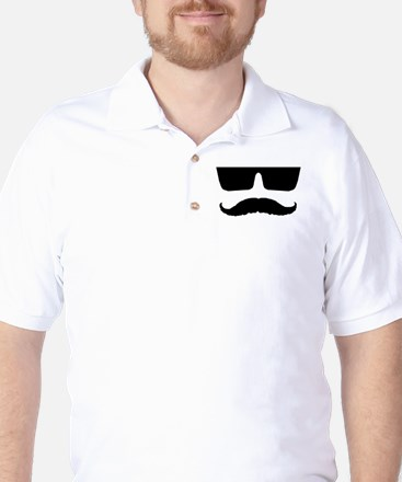 Cool mustache and glasses Golf Shirt
