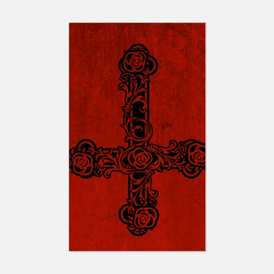 Inverted Cross And Red Roses Sticker (Rectangle)