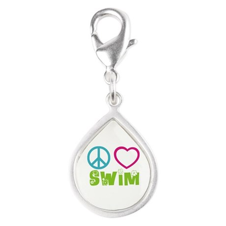 Peace Love Swim Silver Teardrop Charm