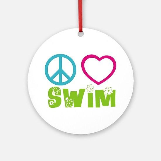 Peace Love Swim Ornament (Round)