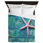 Starfish And Turquoise Seashore Queen Duvet