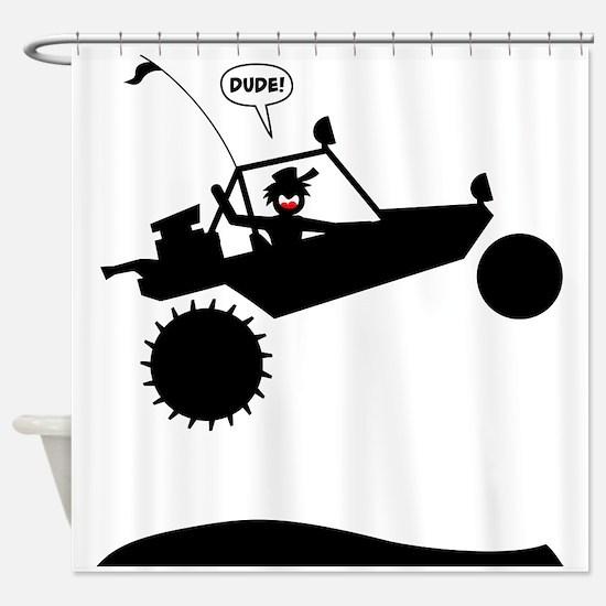 SAND RAIL Jumping Black Image Shower Curtain