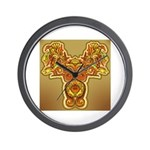 Golden Quetzalcoatl Wall Clock
