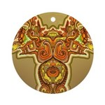 Golden Quetzalcoatl Ornament (Round)