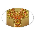 Golden Quetzalcoatl Oval Sticker