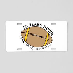 50th Birthday Football Aluminum License Plate