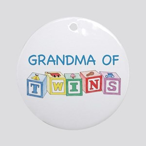 Grandma of Twins Blocks Ornament (Round)