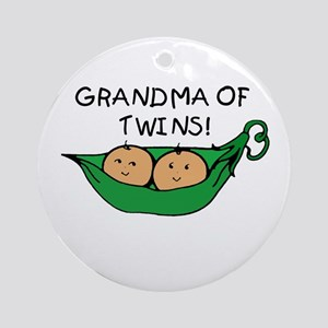 Grandma of Twins Pod Ornament (Round)
