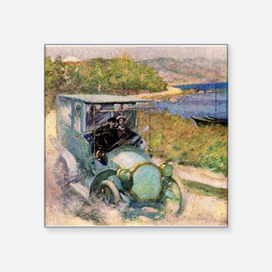 """Antique Sunday Drive by the Sea Square Sticker 3"""""""