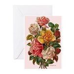 Victorian Roses Bouquet Vinta Greeting Cards (Pack