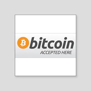 "Square Bitcoin Accepted Here Sticker 3"" x 3&q"
