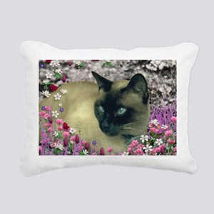 Stella Cat Flowers Rectangular Canvas Pillow