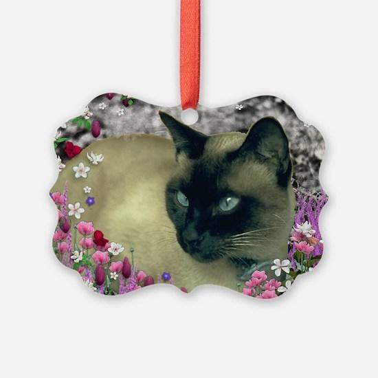 Stella Siamese Cat Flowers Ornament