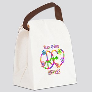 Peace Love Snakes Canvas Lunch Bag
