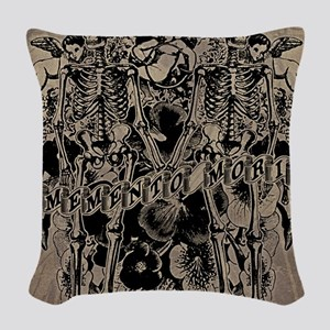 Memento Mori Collage Woven Throw Pillow
