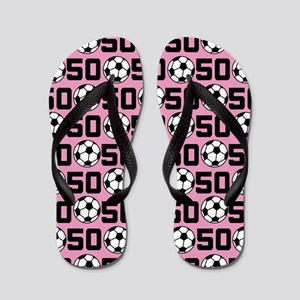 Soccer Ball Player Number 50 Flip Flops