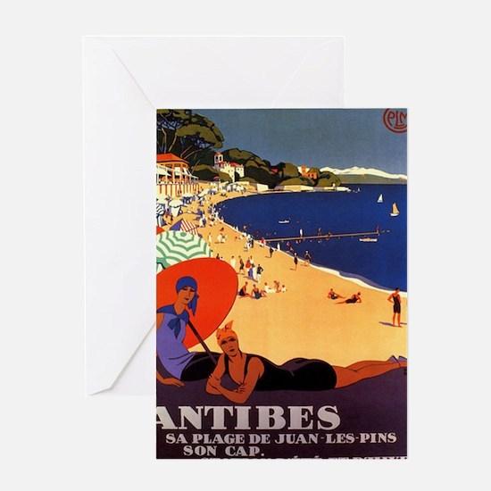 Antibes, Vintage Poster Greeting Card