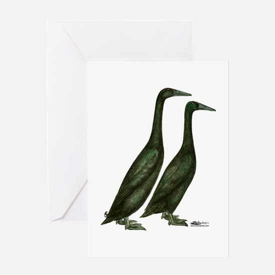 Black Runner Ducks Greeting Card