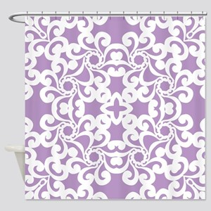 African Violet & White Lace Tile Shower Curtain