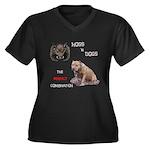 Hogs N Dogs Women's Plus Size V-Neck Dark T-Shirt