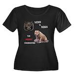 Hogs N Dogs Women's Plus Size Scoop Neck Dark T-Sh