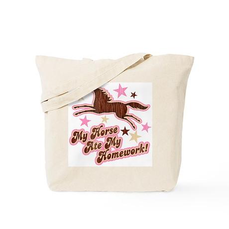 Horse Ate My Homework Tote Bag
